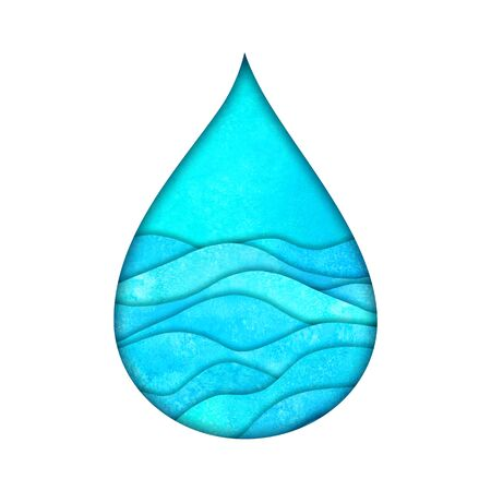 Water drop logo design template. Watercolour hand painted blue teal turquoise paper cut style logotype. Watercolor natural aqua. Save water, ecology, environmental protection concept. Imagens