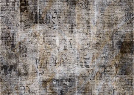 Old grunge newspaper paper textured background. Blurred vintage newspapers texture background. Blur unreadable aged news page with place for text, images. Dark gray beige collage.