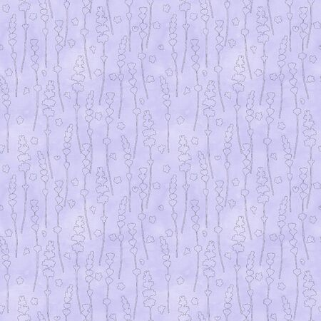 Lavender flowers purple contour line silhouettes seamless pattern on watercolor background. Hand drawn floral texture. Print for textile, wallpaper, wrapping, invitation, wedding, greeting cards.