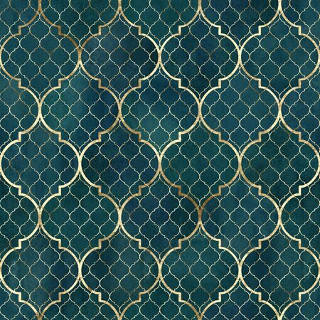 Watercolor abstract geometric seamless pattern. Vintage decorative moroccan texture with gold line. Watercolour hand drawn dark green teal golden background. Print for textile, wallpaper, wrapping. Standard-Bild