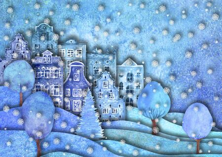 Happy new year and Merry christmas design. Watercolour hand drawn hills, houses, trees, snowflakes on purple blue teal background for banner, poster. Paper cut art craft style, 3d effect imitation. Copy space.