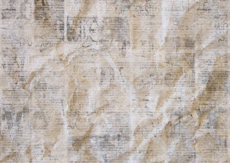 Vintage grunge crumpled paper texture background. Blurred old newspaper texture. A blur unreadable aged newspapers page with place for text. Gray brown beige collage news pages background.