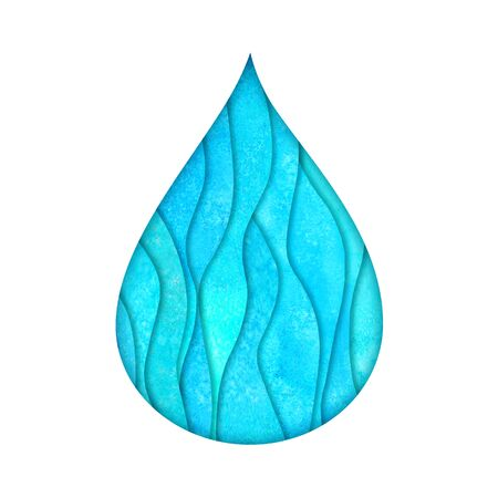 Water drop logo design template. Watercolour hand painted blue teal turquoise paper cut style logotype. Watercolor natural aqua. Save water, ecology, environmental protection concept. Stock Photo