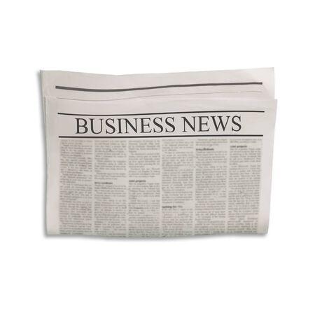 Mockup di giornale Business News vuoto con spazio vuoto per testo e immagini di notizie. Isolato su sfondo bianco. Giornale con titolo Affari. Struttura del grunge di seppia beige grigio vintage.