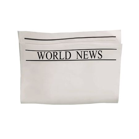 Mockup of World News newspaper blank with unreadable text and images. Isolated on white background. News paper with headline. Vintage old gray beige sepia grunge texture.