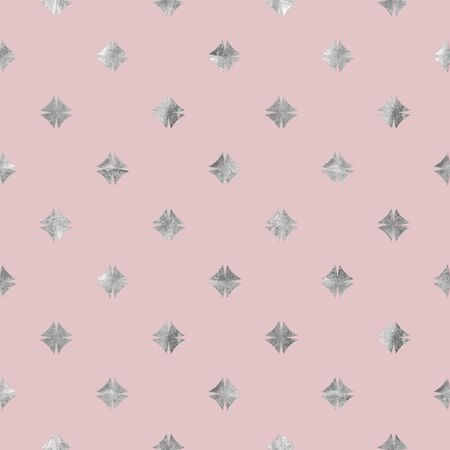 Abstract geometric silver and pink seamless pattern. Gray glittering luxury texture on light pink background. Print for textile, wallpaper, wrapping, packaging.