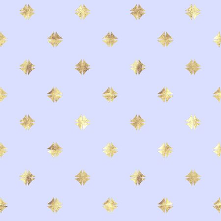 Abstract geometric golden and lavender seamless pattern. Gold glittering luxury texture on light purple background. Print for textile, wallpaper, wrapping, packaging. Stock Photo