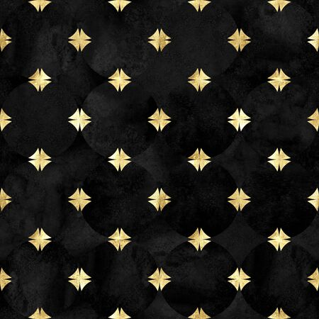 Abstract watercolor background with velvet black circles. Watercolour hand drawn seamless pattern with gold geometric shapes. Golden luxury texture. Print for textile, wallpaper, wrapping.