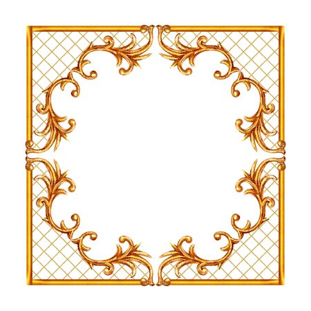 Baroque style elements. Watercolor hand drawn vintage engraving floral scroll filigree design frame. Golden oriental damask curls and flowers collection for greeting cards, wedding invitations.