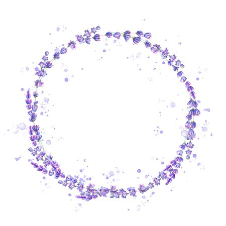 Lavender flowers purple watercolor round frame isolated on white background. Watercolour hand drawn floral circle illustration. Design element for invitation, wedding, greeting cards. Place for text. Stockfoto