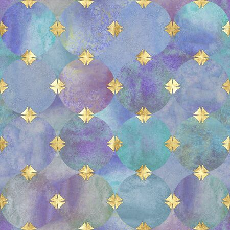 Abstract watercolor background with colorful purple circles. Watercolour hand drawn seamless pattern with gold geometric shapes. Golden luxury texture. Print for textile, wallpaper, wrapping.