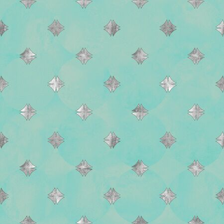 Abstract geometric silver and teal turquoise green seamless pattern. Gray glittering luxury texture on pastel background. Print for textile, wallpaper, wrapping, packaging.