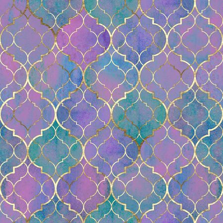 Watercolor abstract geometric seamless pattern. Vintage decorative moroccan texture with gold line. Watercolour hand drawn purple pink teal golden background. Print for textile, wallpaper, wrapping.