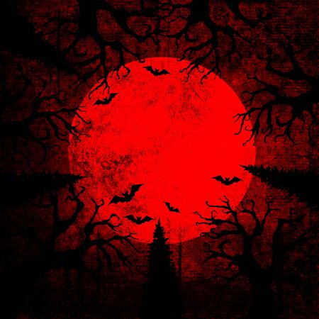 Halloween bloody red grunge background with full moon, silhouettes of bats and terrible dead trees on dark spooky night sky. Halloween, horror concept. Space for text. Stock Photo