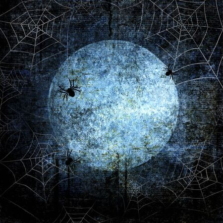 Halloween blue navy gray grunge background with full moon, silhouettes of webs and spiders on dark spooky night sky. Halloween, horror concept. Space for text. Фото со стока - 129323434