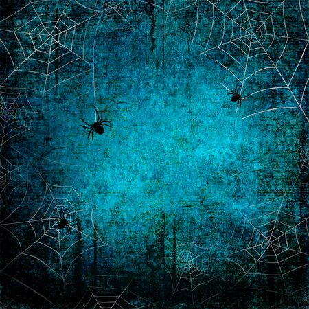 Halloween holiday blue teal gray grunge background with silhouettes of spider webs and spiders on dark spooky night sky. Halloween, horror concept. Space for text.