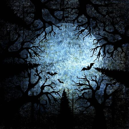 Halloween holiday blue navy gray grunge background with full moon, silhouettes of bats and terrible dead trees on dark spooky night sky. Halloween, horror concept. Space for text. Фото со стока