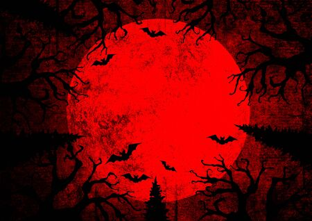 Halloween holiday bloody red grunge horizontal background with full moon, silhouettes of bats and terrible dead trees on dark spooky night sky. Halloween, horror concept. Space for text. Фото со стока