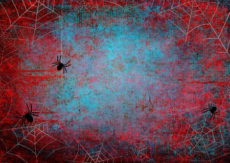 Halloween holiday bloody red and teal grunge horizontal background with webs and spiders on dark spooky night sky. Halloween, horror concept. Space for text. Фото со стока - 129323439