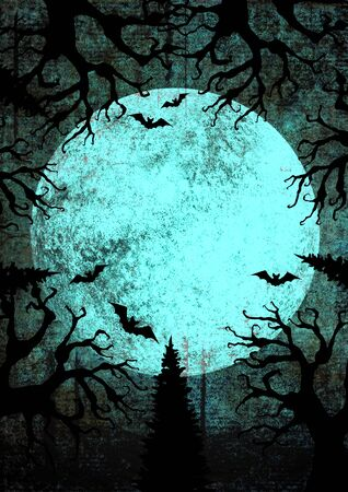 Halloween holiday bright grunge vertical background with full moon, silhouettes of bats and terrible dead trees on dark spooky night sky. Halloween, horror concept. Space for text.