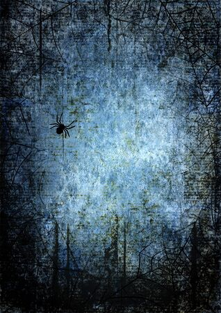 Halloween blue navy gray grunge background with silhouettes of spider webs and spiders on dark spooky night sky. Halloween, horror concept. Space for text. Фото со стока - 129323445