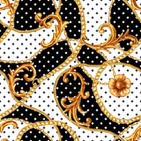 Baroque golden elements seamless pattern. Watercolor hand drawn gold texture on black and white polka dot background. Watercolour vintage design print for fabric, textile, wallpaper, wrapping paper.