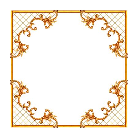 Baroque style elements. Watercolor hand drawn vintage engraving floral scroll filigree design frame. Golden oriental damask curls and flowers collection for greeting cards, wedding invitations. 免版税图像