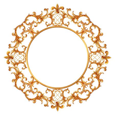 Baroque style round element. Watercolor hand drawn vintage engraving floral scroll filigree design circle frame. Golden curls and flowers collection for logo, greeting cards, wedding invitations.