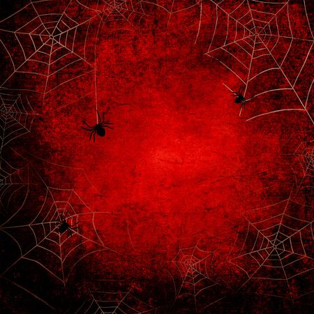 Halloween holiday bloody red grunge square background with silhouettes of webs and spiders on dark spooky night sky. Halloween, horror concept. Space for text. Фото со стока - 129323553