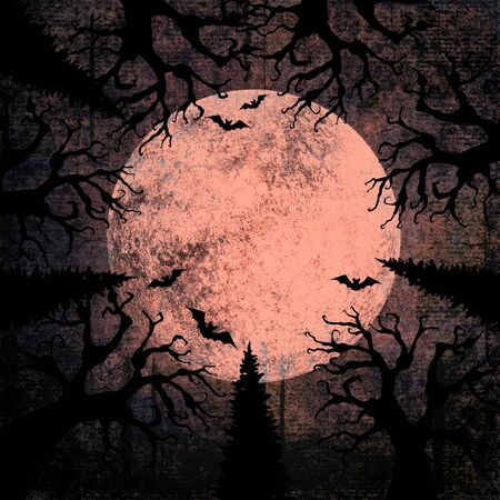 Halloween holiday gray beige grunge background with full moon, silhouettes of bats and terrible dead trees on dark spooky night sky. Halloween, horror concept. Space for text. Фото со стока