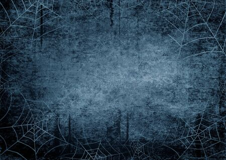 Halloween blue navy gray grunge horizontal background with silhouettes of spider webs on dark spooky night sky. Halloween, horror concept. Space for text.