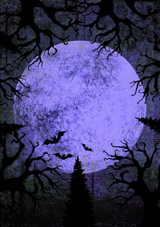 Halloween holiday purple and black grunge background with full moon, silhouettes of bats and terrible dead trees on dark spooky night sky. Halloween, horror concept. Space for text.