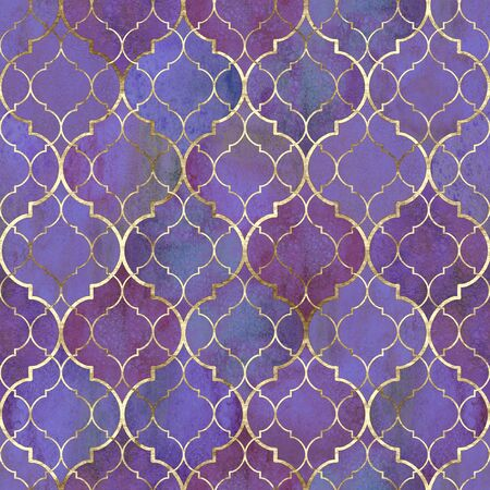 Watercolor abstract geometric seamless pattern. Vintage decorative moroccan texture with gold line. Watercolour hand drawn bright purple golden background. Print for textile, wallpaper, wrapping