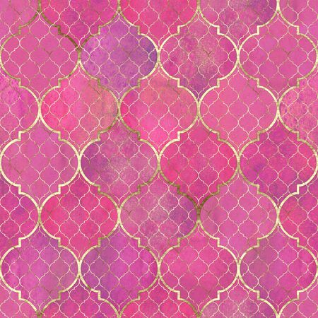 Watercolor abstract geometric seamless pattern. Vintage decorative moroccan texture with gold line. Watercolour hand drawn bright magenta pink golden background. Print for textile, wallpaper, wrapping