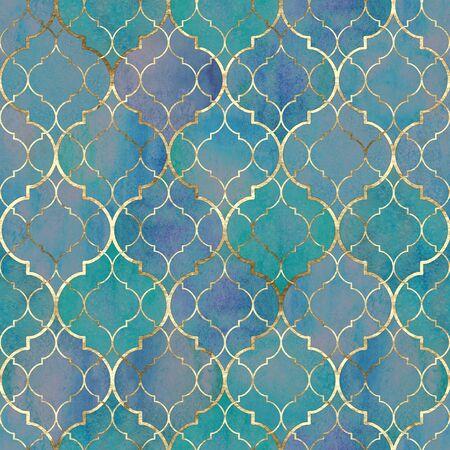 Reticolo senza giunte geometrico astratto dell'acquerello. Texture marocchina decorativa vintage con linea dorata. Acquerello disegnato a mano blu turchese sfondo dorato. Stampa per tessuti, carta da parati, confezioni