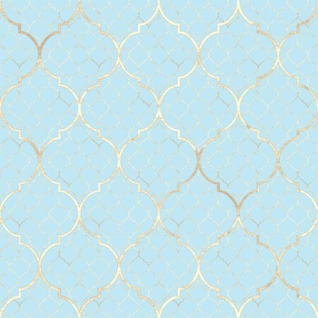 Abstract geometric seamless pattern. Vintage decorative moroccan texture with gold line. Hand drawn light blue golden background. Print for textile, wallpaper, wrapping.