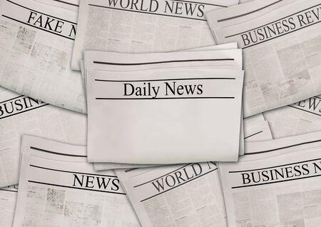Giornali con titoli sulla superficie orizzontale. Vecchio fondo del giornale. Trama di pagine di notizie invecchiate. Collage di carta nero bianco grigio. Vista dall'alto.