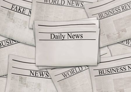 Newspapers with headlines on horizontal surface. Old newspaper background. Aged news pages texture. Gray white black paper collage. Top view.