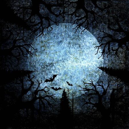 Halloween holiday blue navy gray grunge background with full moon, silhouettes of bats and terrible dead trees on dark spooky night sky. Halloween, horror concept. Space for text. Imagens