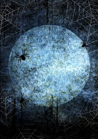 Halloween blue navy gray grunge background with full moon, silhouettes of spider webs and spiders on dark spooky night sky. Halloween, horror concept. Space for text. Foto de archivo - 129948204