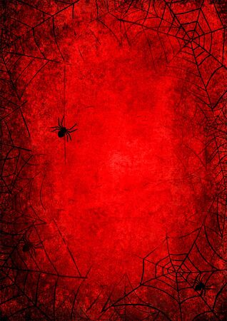 Halloween holiday bloody red grunge background with silhouettes of spider and webs on dark spooky night sky. Halloween, horror concept. Space for text. Foto de archivo - 129948344