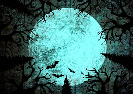 Halloween holiday blue teal black grunge background with full moon, silhouettes of bats and terrible dead trees on dark spooky night sky. Halloween, horror concept. Space for text. Imagens