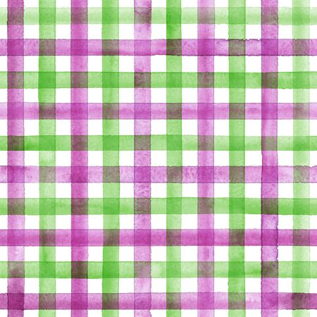 Watercolor stripe plaid seamless pattern. Colorful green pink purple stripes background. Watercolour hand drawn striped texture. Print for cloth design, textile, fabric, wallpaper, wrapping, tile.