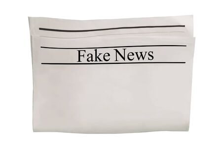 Mockup of Fake News newspaper blank with unreadable text. Isolated on white background. News paper with headline. Vintage old gray grunge texture. Textured space for text and images. Stock Photo