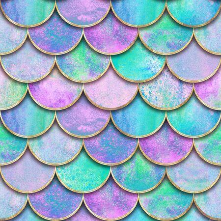 Meerjungfrau Fischschuppenwelle japanisches nahtloses Muster. Aquarell handgezeichnete aquamarine lila goldenen Hintergrund. Aquarell skalierte Textur. Papierschnittstil, 3D-Effekt. Druck für Textilien, Tapeten Standard-Bild