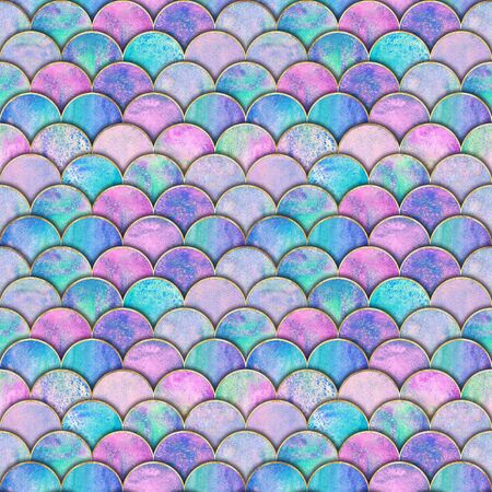 Mermaid fish scale wave japanese seamless pattern. Watercolor hand drawn colorful background with gold line. Watercolour scales shaped texture. Paper cut style, 3d effect. Print for textile, wallpaper 版權商用圖片