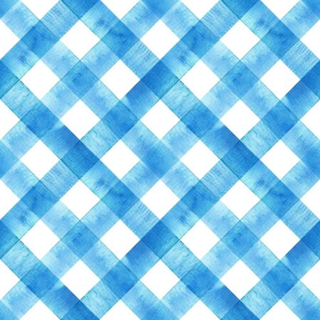Watercolor diagonal stripe plaid seamless texture. Blue stripes on white background. Watercolour hand drawn striped pattern. Print for cloth design, textile, fabric, wallpaper, wrapping, tile.