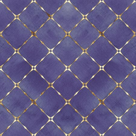 Watercolor abstract geometric stripe plaid seamless pattern with gold glitter line contour. Watercolour hand drawn bright purple striped texture background. Print for textile, wallpaper, wrapping. Foto de archivo