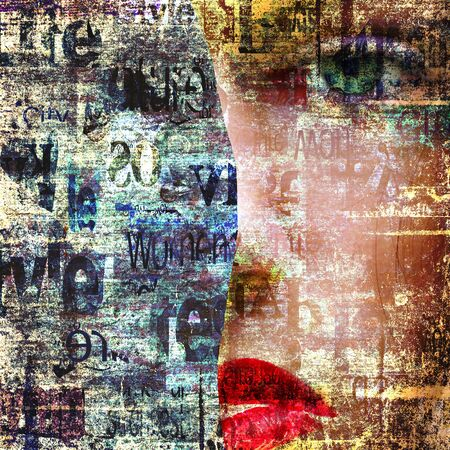 Contemporary fashion woman portrait. Beautiful female face with green eyes and red lips on newspaper texture. Artwork modern collage. Newspapers art print.