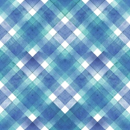 Watercolor diagonal stripe plaid seamless texture. Blue and teal stripes on white background. Watercolour hand drawn striped pattern. Print for cloth design, textile, fabric, wallpaper, wrapping, tile